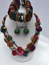 Handcrafted African Coconut Wood Necklace, Bracelet & Earring 3-piece Set