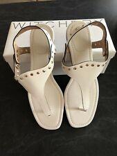 Witchery Size 41 9.5 White Leather Stud Trim Sandals