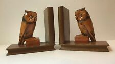 Owl Bookends Wood Hand Carved Black Forest Style Germany Mid Century