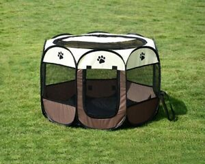 Portable Pet Dog Cat Exercise Fence Kitten Soft Playpen Tent Folding Cage New