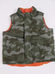 OLD NAVY BOYS PUFFER CAMOUFLAGE/ORANGE REVERSIBLE WINTER VEST 18-24 MO NEW