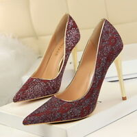 Women Pointed Toe Pumps Stiletto Slip On Shallow Fashion High Heels Ladies Shoes