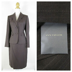 Ann Taylor Gray Brown Striped Wool Skirt Suit Size 6 8 Formal Career NWT $336