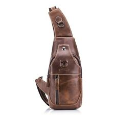 Men's Genuine Leather Chest Shoulder Backpack Cross Body Purse Sling Satchel Bag