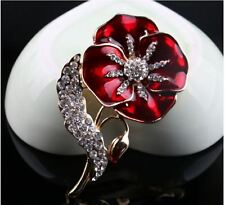 Gold Tone Enamel Poppy & Leaf encrusted Diamante Rhinestone Crystals brooch pin