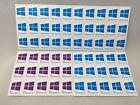 5x/10x Windows 10 / Pro | Cyan Blue | Purple | Sticker Badge Logo Decal | USA