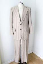Vtg 70s Brown Blue Pinstripe 2-Pc Disco Pimp Suit Wide Lapel Flare Leg Pants 40L
