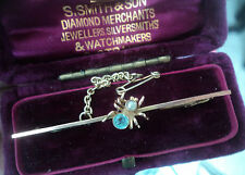 Vintage 9ct Gold Spider Insect Bar Brooch h/m 1921 Chester - Aquamarine & Pearl