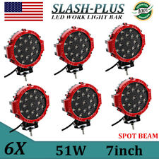 """6X 7""""inch 51W Round Off Road Led Work Light Ford Truck Bumper SPOT Driving RED"""