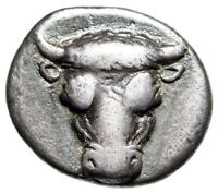 "Phokis, Phokian League AR Triobol ""Bull Facing & Apollo, Lyre"" Phayllos Rare gVF"
