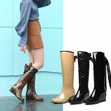 Women's Knee High Rain Boots Waterproof Shoes Bow Zip Fashion 6cm Wedge Heels