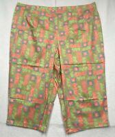 Westbound Womens Capri Pants Multicolor Green Floral Fruit Stretch Plus 24W New