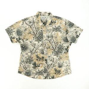 GameGuard Women Large Short Sleeve Button Shirt Desert Camouflage Camo Vented