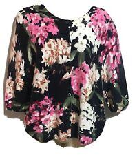 OUI Women's UK 12 Floral Botanical Cotton Knit Jumper Cardigan Sweater Top Work