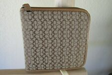 COACH KHAKI Cs FABRIC BROWN LEATHER 12 DVD ZIPPERED CASE