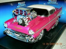 57 CHEVY BEL- AIR PINK W/ WHITE TOP MUSCLE MACHINE 1:18