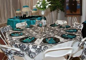 "10 Flocked Damask Overlays 60""x60"" Tablecloths Table Top Cover Flocking Square"