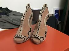 Boohoo Boutique Dolly Peeptoe Studded Western Heels Size 5