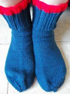 Hand knitted  socks, navy blue, men's or women's