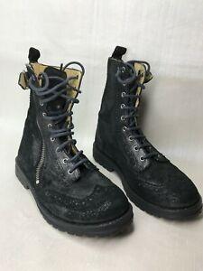 POM D'api Paris boots Metallic Leather grey wingtip boots Girls EU 32 US 1 lux