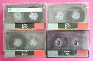 Lotto 4 MC Musicassette TDK D60 d 60 Vintage Compact Cassette Tape USATA no agfa