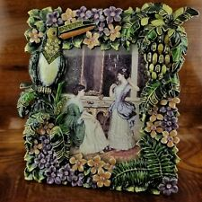 Tropical Palm Tree Floral Toucan Austrian Crystal Accents Enamel Picture Frame