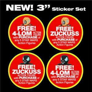 "Set of4 Kenner STAR WARS FREE 4-LOM & Zuckuss action figure promo 3"" stickers"