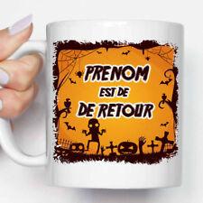 "Mug, Tasse Personnalisé, ""Décor Halloween Cimetière, Araignée"" + Prénom (MUG081)"