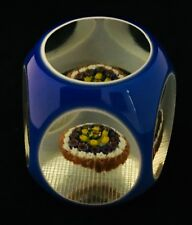VTG MURANO DOUBLE OVERLAY MUSHROOM MILLEFIORI PAPERWEIGHT FACETED WAFFLE BASE