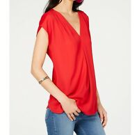 INC Womens S Real Red Short Sleeve Inverted Pleat VNeck Relaxed Fit Top NWT