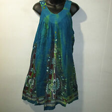 Dress Fit L XL 1X 2X 3X Plus Sundress Blue Green Dashiki Print A Shaped NWT 125