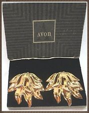 earrings gold-tone mint condition in box Rare Vintage Avon golden flame Clip