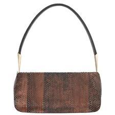 34aada3775 BOTTEGA VENETA Bronze Metallic Snakeskin Leather Baguette Shoulder Bag Purse