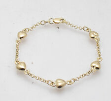 "6"" Childrens KIDS BABY GIRL Puffed Heart Rolo BRACELET REAL 14K YELLOW GOLD"