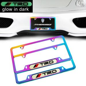 2pcs TRD Glow in the Dark Green Neo Chrome Metal License Plate Frame