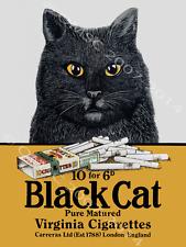 Black Cat Cigarettes Metal Sign, England, Garage Decor, English