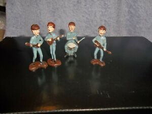 THE BEATLES ORIGINAL 4 CAKE TOPPERS HAND PAINTED PLASTIC FIGURES 1963 HONG KONG
