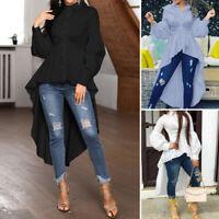 Womens Casual Loose Long Sleeve Maxi Shirt Tunic Tops Asymmetrical Swing Blouse