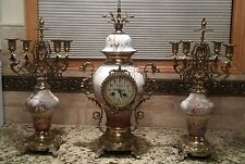 Antique French Gilded Mantel Clock Garniture by Japy Freres 19th Century. VIDEO