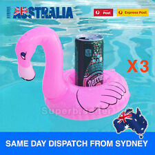 3 Pink Flamingo Inflatable Can Drink Holders Floating Toy Pool Party Bath Beach