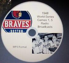 1948 World Series radio broadcast in MP3 Boston Braves - 2 complete games