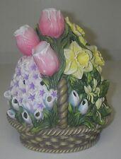 Candle Holder PartyLite Spring Floral Bouquet Flower Basket Tealight Ceramic