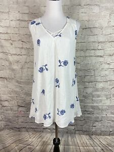 Vestique Womens Tunic Top Size Medium White Blue Embroided Floral Sleeveless