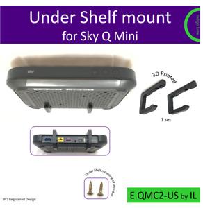 Sky Q Mini under shelf bracket. Holder. Mount - black. Made in the UK by us.