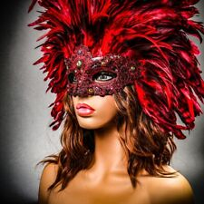 Red Venetian Carnival Masquerade Top Feather Sexy Eye Mask Mardi Gras For Women