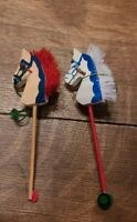 Two Vintage Hobby Horse Christmas Ornaments Stick Horses