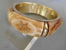 ANCIEN BRACELET JONC EN OS SCULPTE ECRU MARRON LAITON FEMME BRASS BONE BANGLE