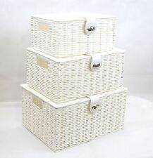 Arpan White Resin Woven Hamper Storage Basket Box With Lid & Lock  In 3 Size