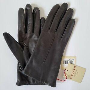 Dents Navy Ladies Size 7.5 Black Leather Gloves Model No. 7-3036