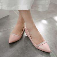 Cute Pointy Toe Flat Womens Slip On Rhinestone Dress Shoes Korean US4-11 New